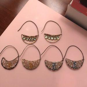 Anthropologie Hoop Earrings w/ Stones